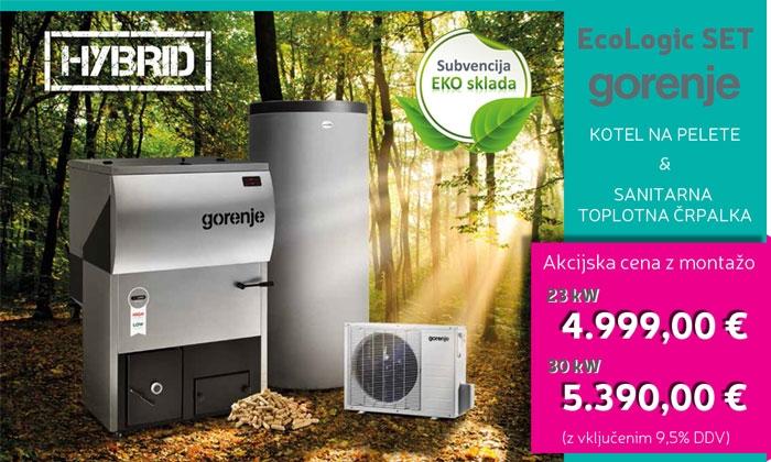 Gorenje set Ecologic: peletni kotel Ecologic in sanitarna toplotna črpalka Eco Split