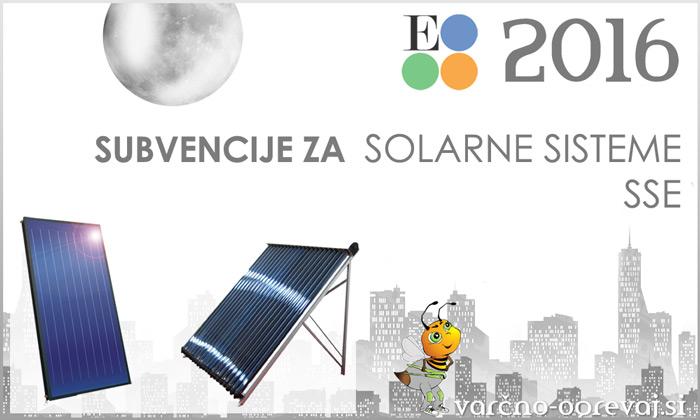 Subvencije Eko sklad 2016 za solarni sistem SSE - javni razpis 37SUB-OB16