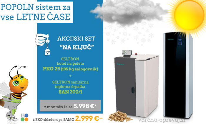 Celovit sistem ogrevanja: SELTRON set s peletnim kotlom PKO 25 in sanitarko SAN 300/1