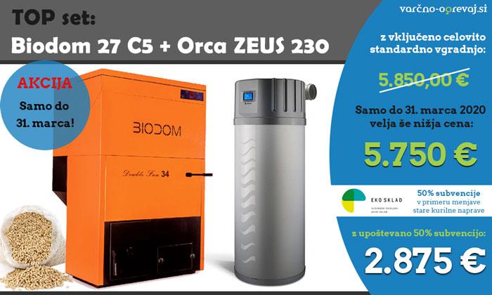 TOP set: Kotel na pelete Biodom 27 C5 Valter + sanitarna toplotna črpalka Orca Zeus 230