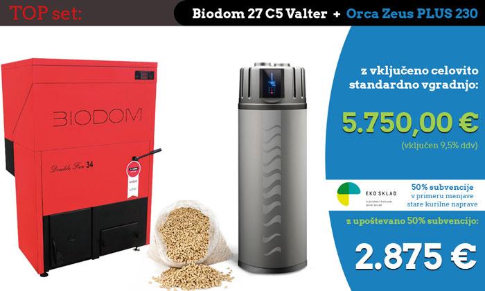 TOP set: Kotel na pelete Biodom 27 C5 Valter + sanitarna toplotna črpalka Orca Zeus PLUS 230