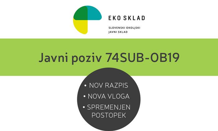 Nov razpis EKO SKLADa: Javni poziv 74SUB-OB19, vloga in navodila