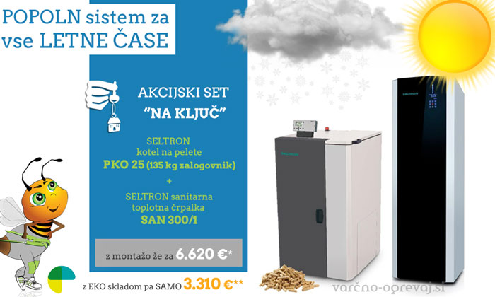 SELTRON | Celovit sistem ogrevanja: SELTRON set s peletnim kotlom PKO 25 in sanitarko SAN 300/1